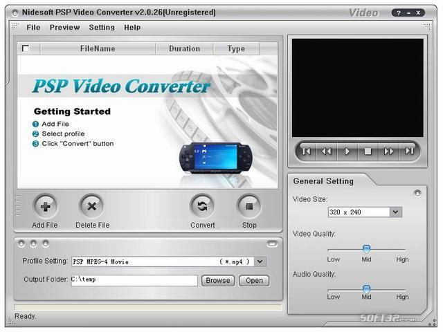 Nidesoft PSP Video Converter Screenshot 2