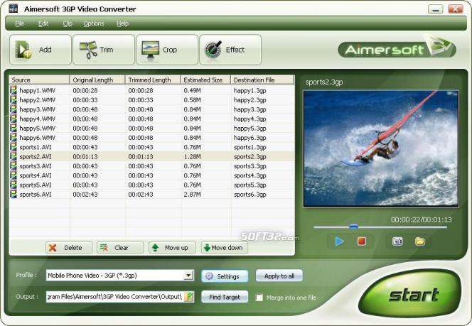 Aimersoft 3GP Video Converter Screenshot 1