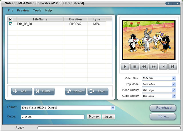Nidesoft MP4 Video Converter Screenshot