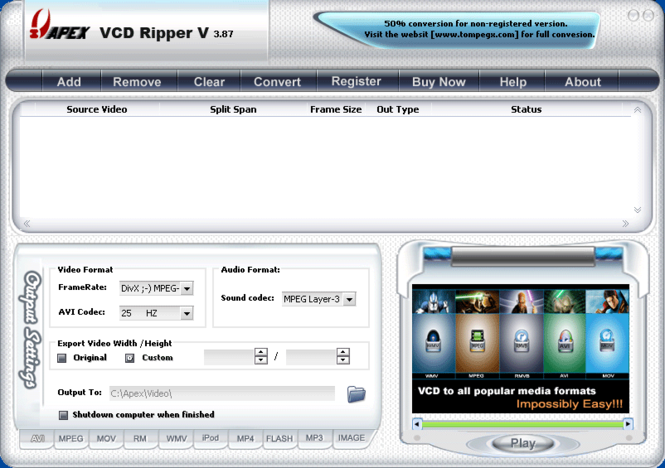 Apex VCD Ripper Screenshot