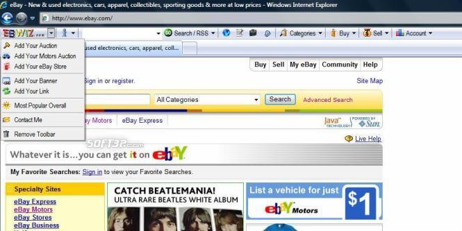 eBWiz Toolbar For eBay Screenshot