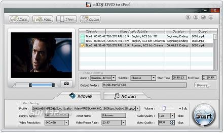 Alldj DVD To iPod Ripper Screenshot 3