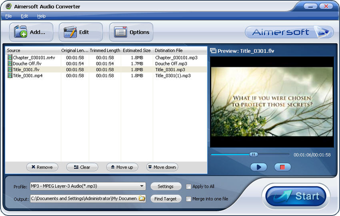 Aimersoft Audio Converter Screenshot