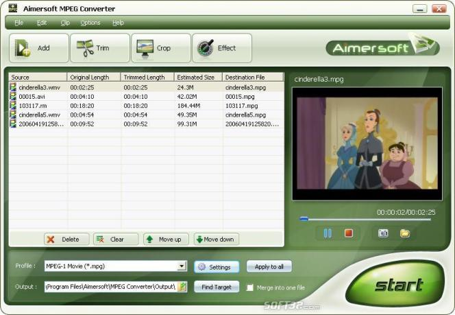 Aimersoft MPEG Converter Screenshot