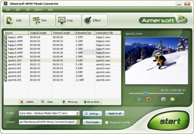 Aimersoft WMV Movie Converter Screenshot
