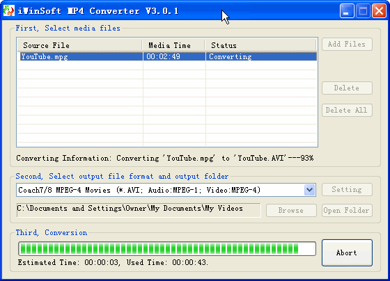 iWinSoft MP4 Converter Screenshot