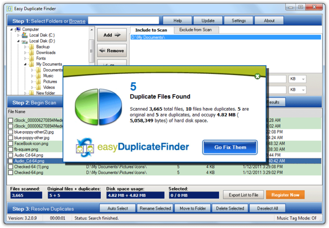 Easy Duplicate File Finder Screenshot