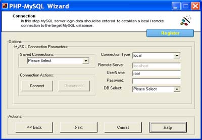 PHP Code Generator for MySQL Screenshot