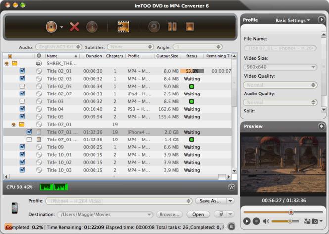 ImTOO DVD to MP4 Converter for Mac Screenshot
