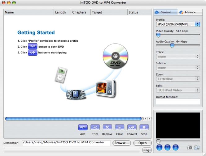 ImTOO DVD to MP4 Converter for Mac Screenshot 2