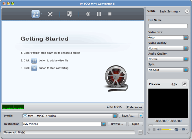 ImTOO MP4 Converter for Mac Screenshot