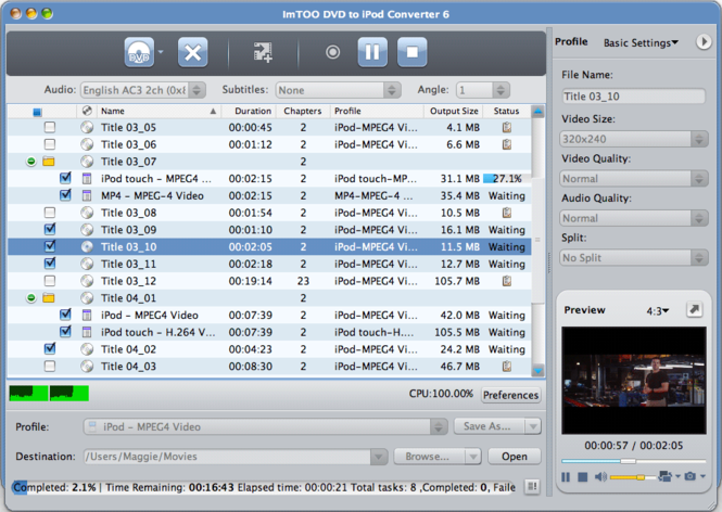 ImTOO DVD to iPod Converter for Mac Screenshot 1