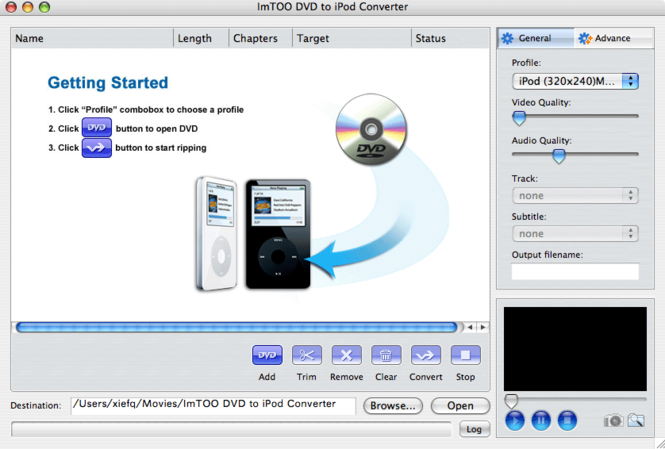 ImTOO DVD to iPod Converter for Mac Screenshot 2