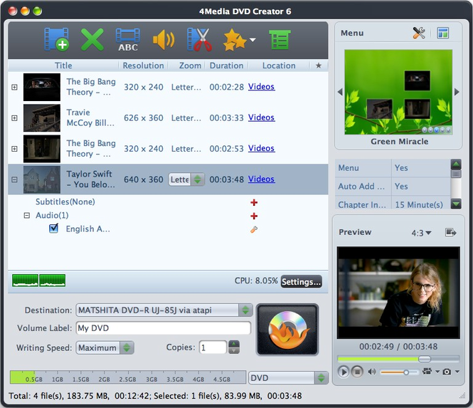 4Media DVD Creator for Mac Screenshot