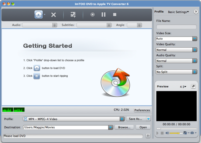 ImTOO DVD to Apple TV Converter for Mac Screenshot
