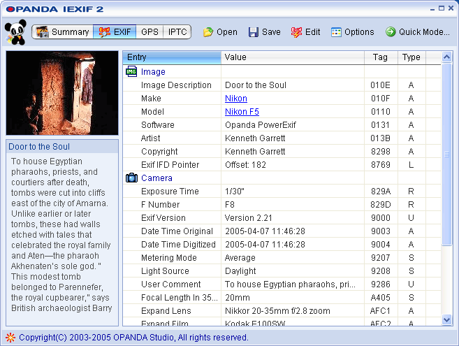 Opanda IExif Screenshot 1