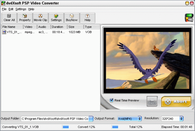 dvdXsoft PSP Video Converter Screenshot