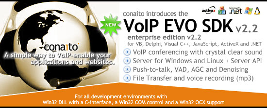 VoIP EVO SDK with DLL, OCX/ActiveX, COM, C-interface and .NET for Windows and Linux Screenshot