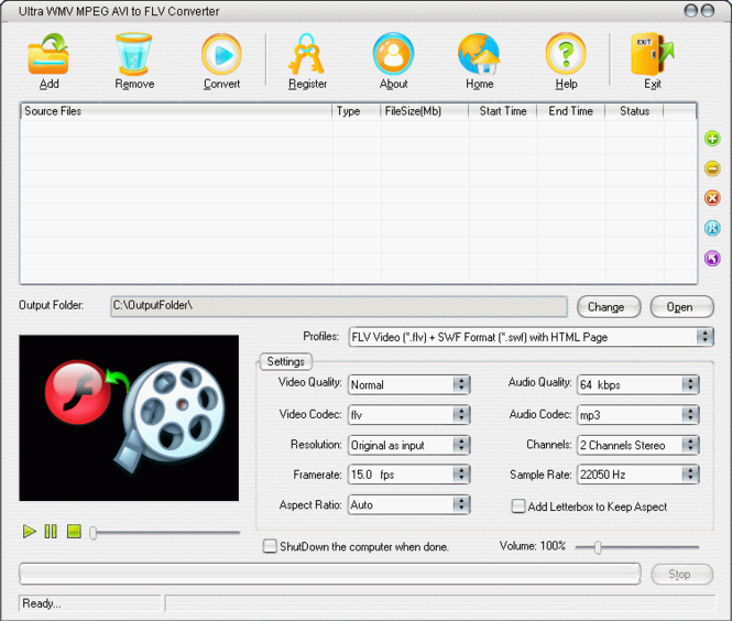 Ultra WMV MPEG AVI to FLV Converter Screenshot