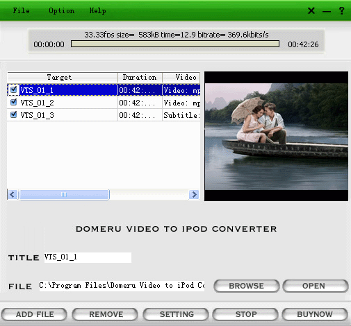 Domeru Video to iPod Converter Screenshot