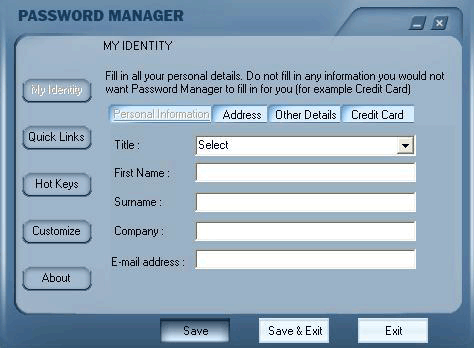 XMicro Password Organizer (Vista) Screenshot