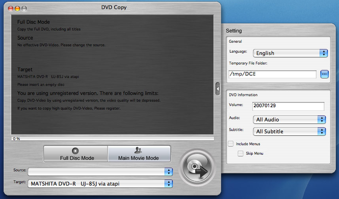 Xilisoft DVD Copy for Mac Screenshot