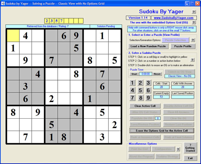 Sudoku Puzzle Screenshot