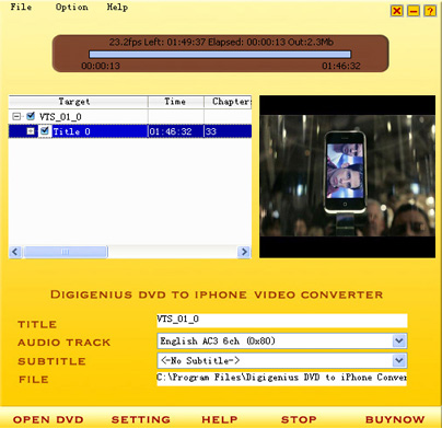 Digigenius DVD to iPhone Converter Screenshot