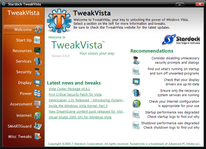 TweakVista Screenshot