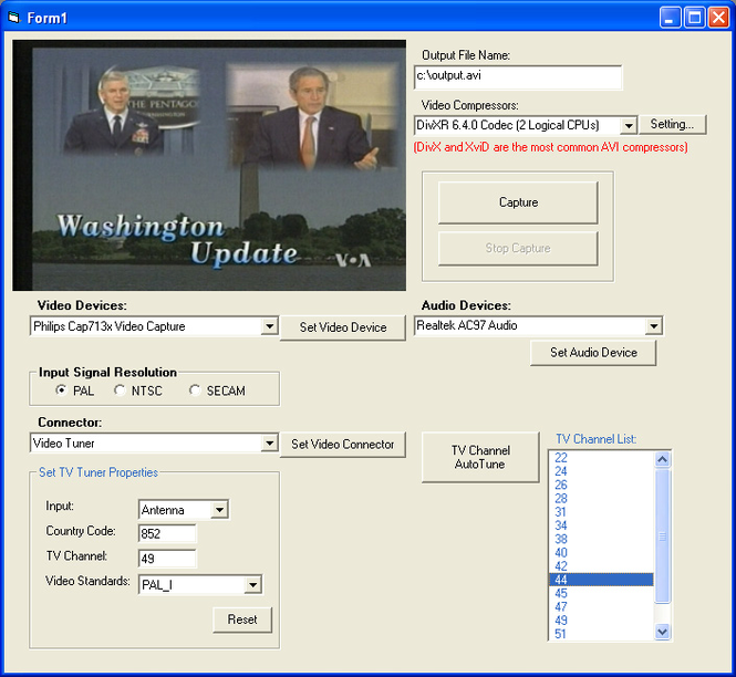 X360 Video Capture ActiveX Control Screenshot