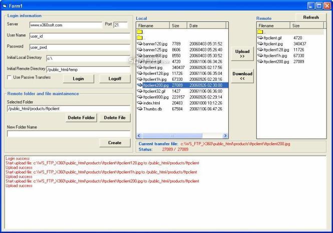 X360 Ftp Client ActiveX OCX (Team Developer) Screenshot 3