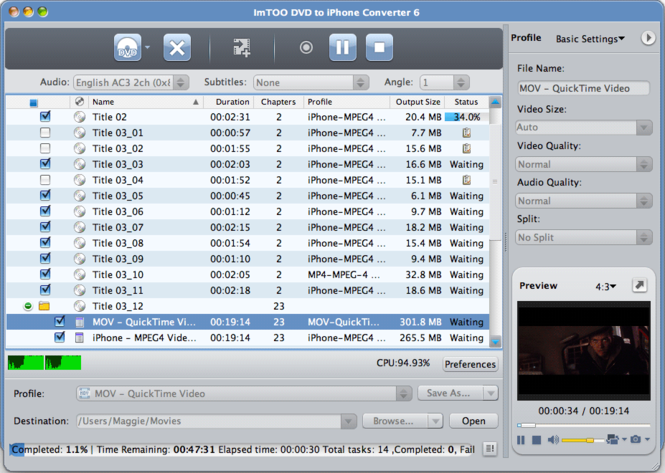 ImTOO DVD to iPhone Converter for Mac Screenshot