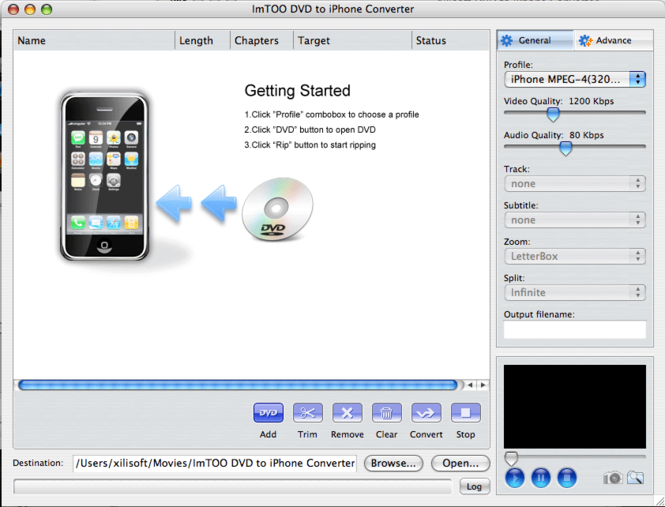 ImTOO DVD to iPhone Converter for Mac Screenshot 2