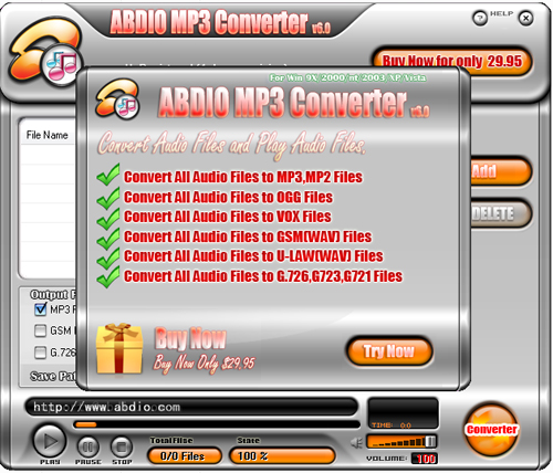 Abdio MP3 Converter Screenshot