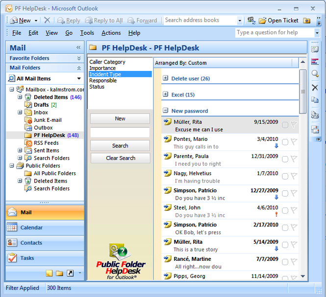 Public Folder HelpDesk Screenshot