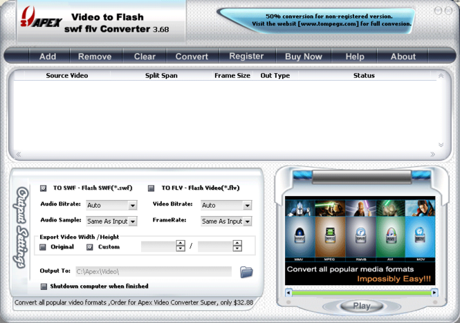 Apex Video to Flash SWF FLV Converter Screenshot