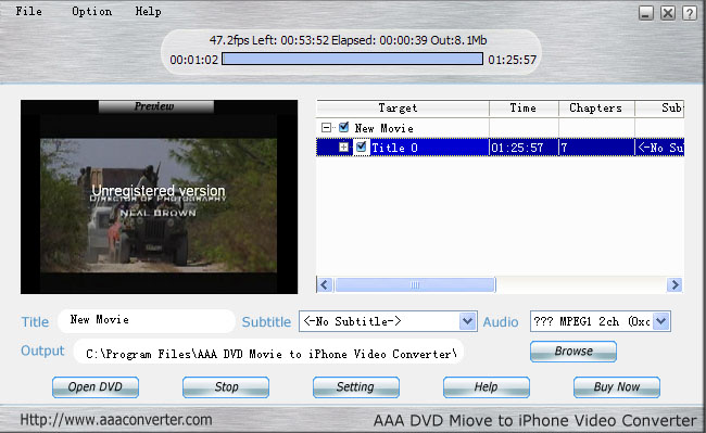 AAA  DVD To iPhone Converter Screenshot