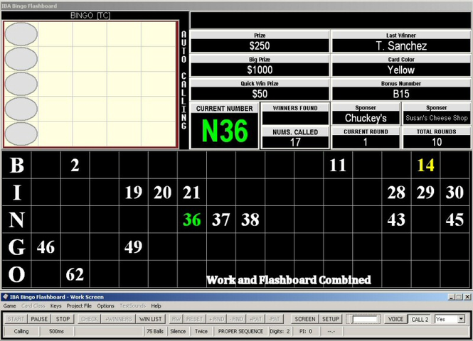 IBA Bingo Flashboard Screenshot