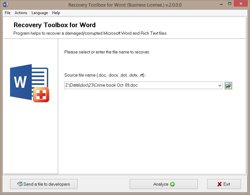 Recovery Toolbox for Word Screenshot 3