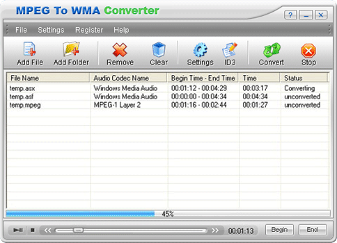 MPEG To WMA Converter Screenshot