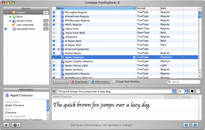Linotype FontExplorer X for Mac Screenshot 1