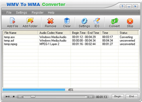 WMV To WMA Converter Screenshot