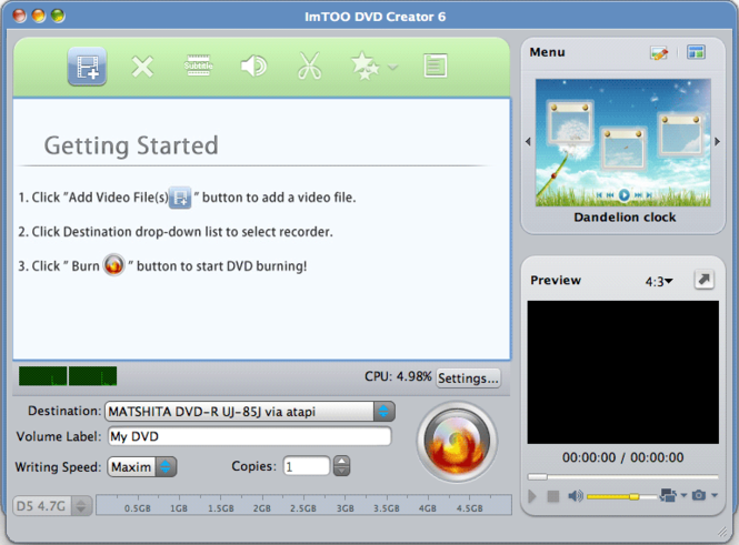 ImTOO DVD Creator for MAC Screenshot
