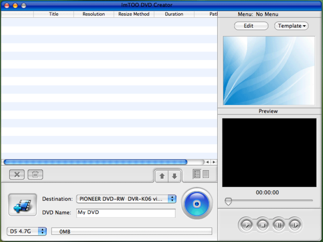 ImTOO DVD Creator for MAC Screenshot 2