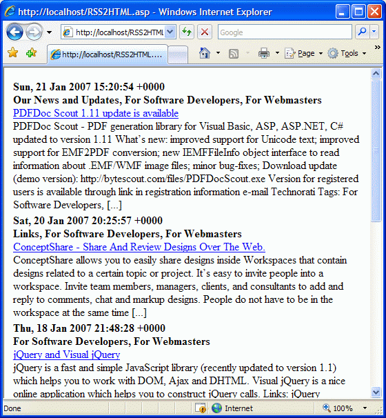RSS2HTML.asp Screenshot 1