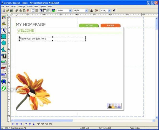 WebDwarf Free Web Page Maker Screenshot 2