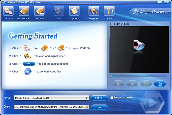 Moyea DVD to 3GP Converter Screenshot 1