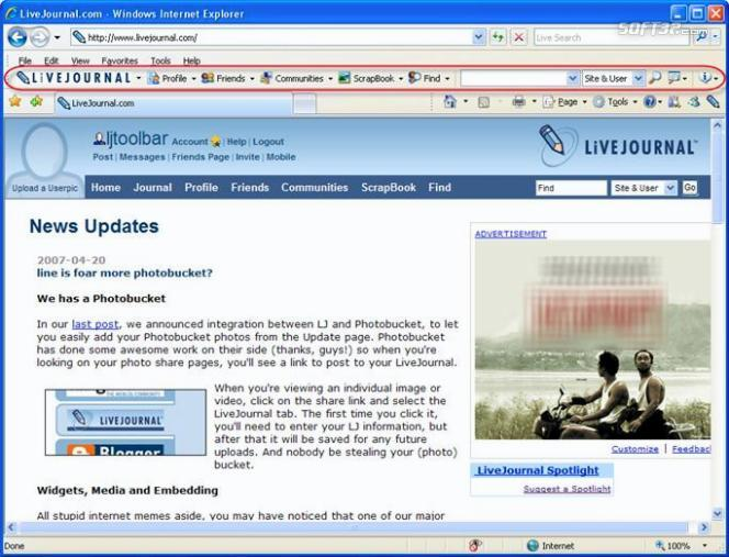 LiveJournal Toolbar Screenshot 2