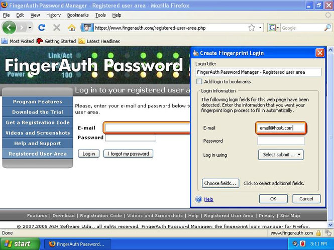 FingerAuth Password Manager Screenshot