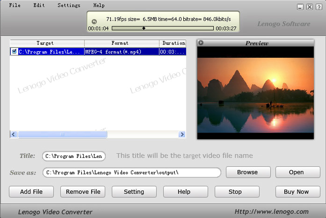 Lenogo Video Converter Screenshot